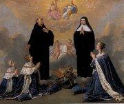 Anne d'Autriche et ses fils priant devant saint Benoît et sainte Scholastique (Philippe de Champaigne)