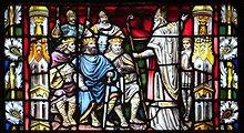 Saint Patrick prêchant devant les rois (cathédrale de Carlow, vitrail de Franz Mayer)