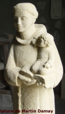 Saint Antoine, sculpture de Martin Damay, reproduction interdite